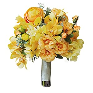 USIX Handmade Natural Looking Mixed Artificial Yellow Flowers Classic Picture-Perfect Wedding Bouquet Bridal Holding Bouquet Bridesmaid Bouquet Throw Bouquet Wedding Flower Arrangements 66