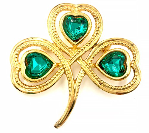 J. C. Walsh & Sons Heart-Shaped Leaves Shamrock Gold Plated Brooch Pin