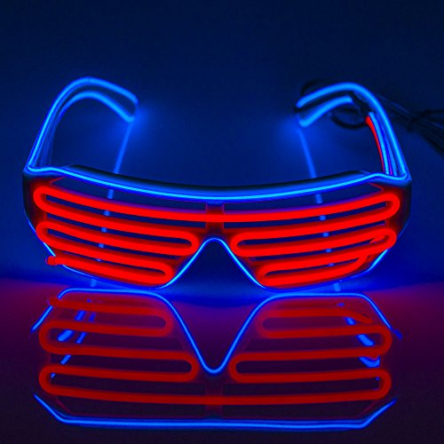 Fronnor EL Glasses El Wire Fashion Neon LED Light Up Shutter Shaped Glow Sun Glasses Rave Costume Party DJ Bright SunGlasses(Blue - Sunglasses Neon With Logo