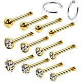 BodyJ4You 14PC Nose Hoop Rings 20G Stainless Steel Goldtone Nose Bone Stud Pin Piercing Jewelry (0.8mm)