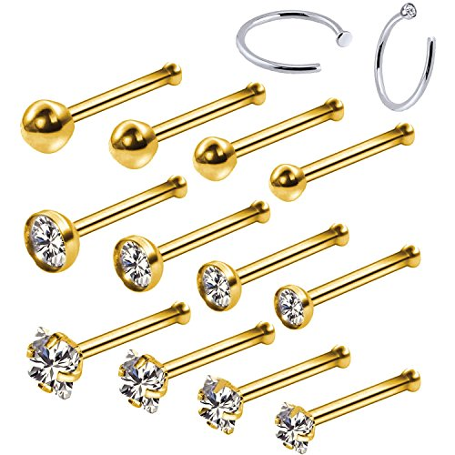 BodyJ4You 14PC Nose Hoop Rings 20G Stainless Steel Goldtone Nose Bone Stud Pin Piercing Jewelry (0.8mm) (Ball End Nose Studs)
