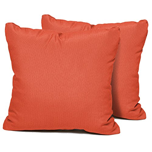TK Classics Square Outdoor Throw Pillows, Set of 2, Tangerine ()
