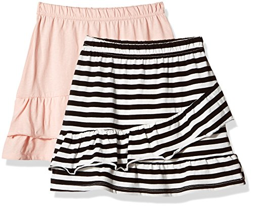 Kid Nation Girls' 2 Packs 100% Cotton Flared Stripe and Solid Pull...