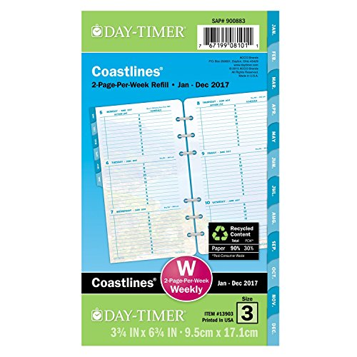 "Day-Timer Weekly Planner Refill 2017, 2 Page Per Week, Loose Leaf, 3-3/4 x 6-3/4"", Portable Size, Coastlines (13903)"