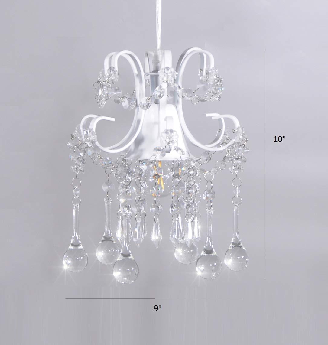 Mini Style Crystal Chandelier Pendant Light White,1-Light by Surpars House (Image #5)