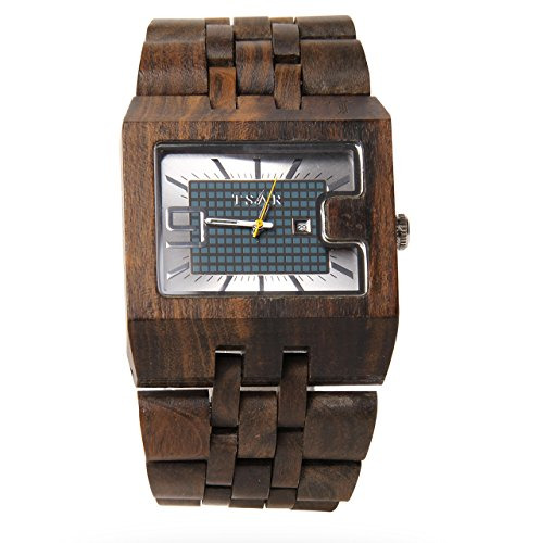 TSAR Men's Wooden Multi-Colour Dial Wood Watch -Square