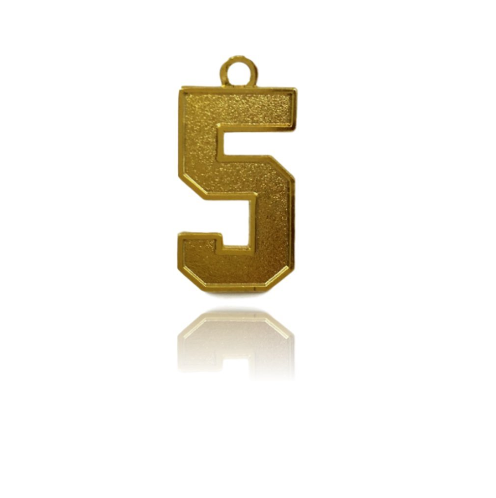 Number 5 Jersey Style Sports Necklace Charm Pendant (0.8'' Tall - Standard Size) GOLD PLATED Perfect For: Football, Baseball, Basketball, Soccer, Hockey, Softball, Volleyball, Lacrosse & More