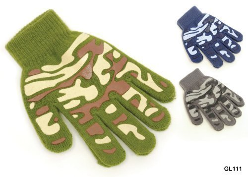 1 Pair Boys Camouflage Pattern Winter Gripper Gloves - Kids Magic Gloves RJM