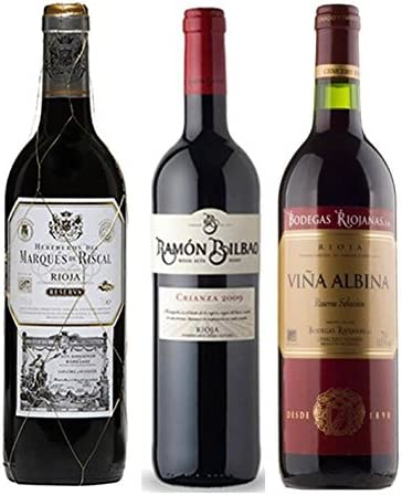 Pack Vino Rioja Clasicos Reserva Gourmet 3 botellas. 1 Ramon Bilbao Reserva, 1 Marqués de Riscal Reserva y 1 Viña Albina Reserva
