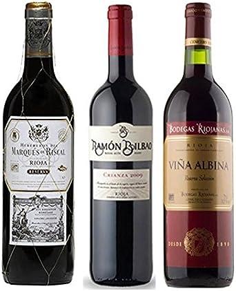 Pack Vino Rioja Clasicos Reserva Gourmet 3 botellas. 1 Ramon Bilbao Reserva, 1 Marqués de Riscal Reserva y 1 Viña Albina Reserva: Amazon.es: Alimentación y bebidas