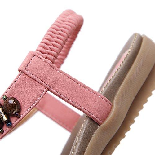 Enllerviid Kvinner Bohem Beaded T-stropp Thong Flate Sandaler Klipp Tå Strand Sko A3 Rosa