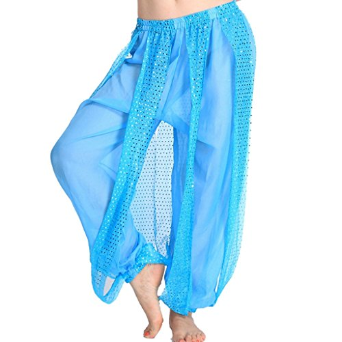 MUNAFIE Belly Dance Harem Pants Arabic Halloween Lantern Shiny Pants Fancy Pants US0-14 Sky Blue