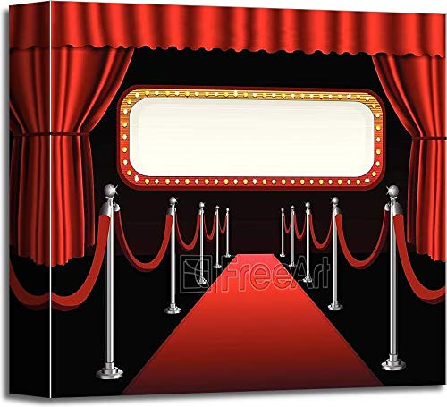 Red Carpet Movie Premiere Elegant Event Red Curtain Theater and Billboard Banner Gallery Wrapped Canvas Art (12in. x 12in.)