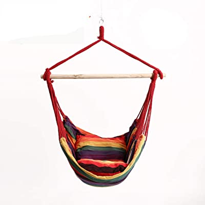 Micozy Hanging Rope Hammock Chair Swing Seat for Any Indoor or Outdoor Spaces- Max. 330 Lbs Cotton Fabric | Indoor/Outdoor Swing: Garden & Outdoor