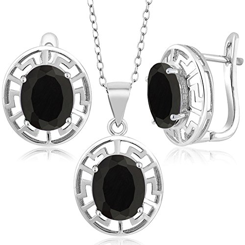 7.50 Ct Oval Black Onyx 925 Sterling Silver Pendant Earrings Set With (Black Onyx Set)
