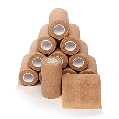 "12-Pack, 4"" Wide x 5 Yards, Self-Adherent Cohesive Tape, Strong Sports Tape for Wrist, Ankle Sprains & Swelling, Self-Adhesive Bandage Rolls, Vet Tape Wrap, Brown Color, By California Basics"