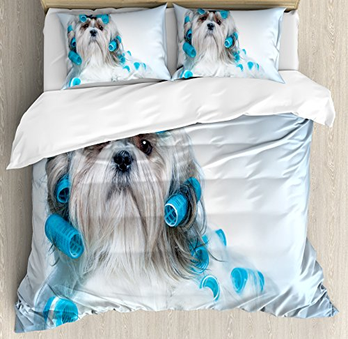 Dog Lover Decor Duvet Cover Set Queen Size by Ambesonne, Shih tzu Dog with Surlers Grooming Hairstyle Salon Front View Closeup Studio Shot, Decorative 3 Piece Bedding Set with 2 Pillow Shams