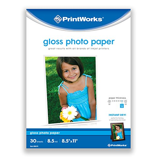 "Printworks Gloss Photo Paper for Inkjet Printers, 8.5 mil, 30 Sheets, 8.5"" x 11"" (Two Sided Glossy Paper)"