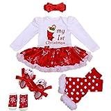 WINMI® Baby Girls Newborn 1st Christmas Tutu Onesie Outfit Party Dress Sets 4PCs (S)