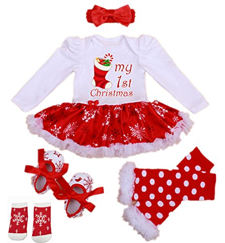 (WINMI® Baby Girls Newborn 1st Christmas Tutu Onesie Outfit Party Dress Sets 4PCs (S))