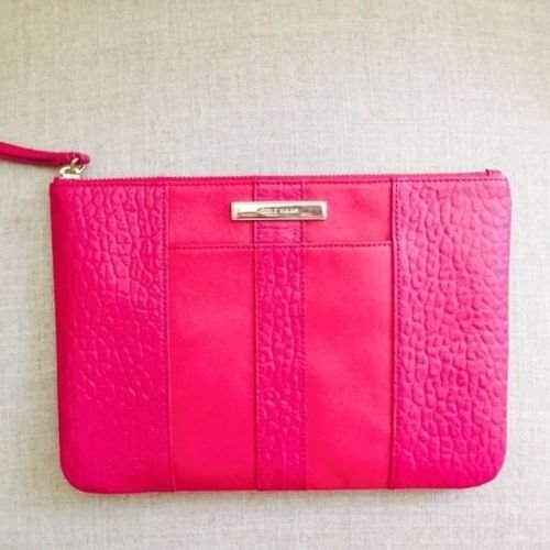Cole Haan Large Pouch Leather Pink Bag Clutch Cosmetic Bag