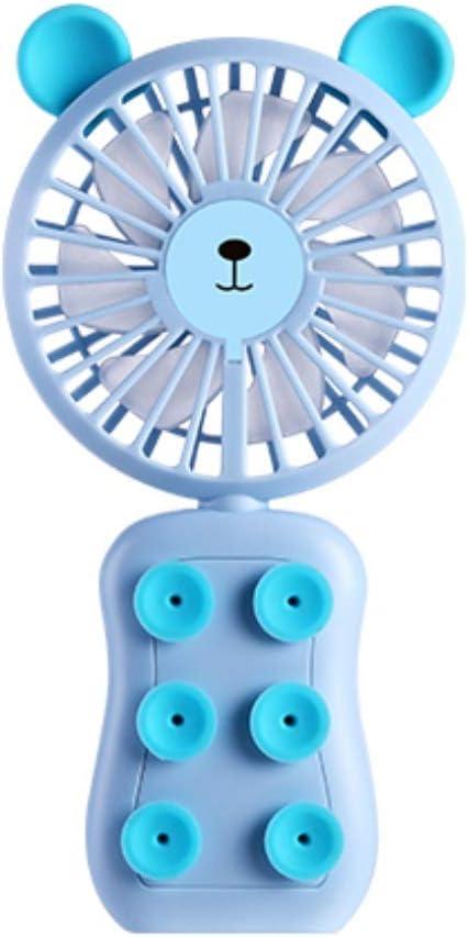 qianqian Mini Ventilador Eléctrico Silencioso Ventilador Portátil de Mano con 7 Cuchillas, 3 Velocidades, Carga USB, Utilizar como Soporte de Teléfono Móvil y luz Nocturna,Bluebear