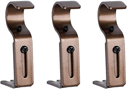 3pcs Adjustable Holder Support Curtain Rod Bracket,Fixed Metal Structure Hook Hanging Window Accessories Adjustable Curtain Rod Bracket Decorative Home Holder Sturdy Support