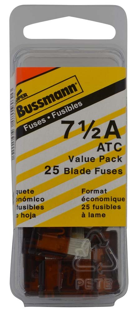 Brown 7-1//2 Amp 32V Fast Acting ATC Blade Fuse, Pack of 25 Bussmann VP//ATC-7-1//2-RP