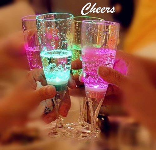Led Light Up Flashing Wine Glasses - 6