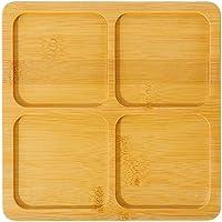 Plato de madera de bambú redondo para servir