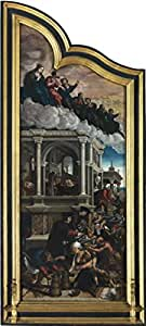 The Perfect effect Canvas of oil painting 'Bernard van Orley - Last Judgement and the Seven Acts of Mercy, Left Panel' ,size: 24x53 inch / 61x136 cm ,this Beautiful Art Decorative Prints on Canvas is fit for Home Theater decoration and Home decor and Gifts