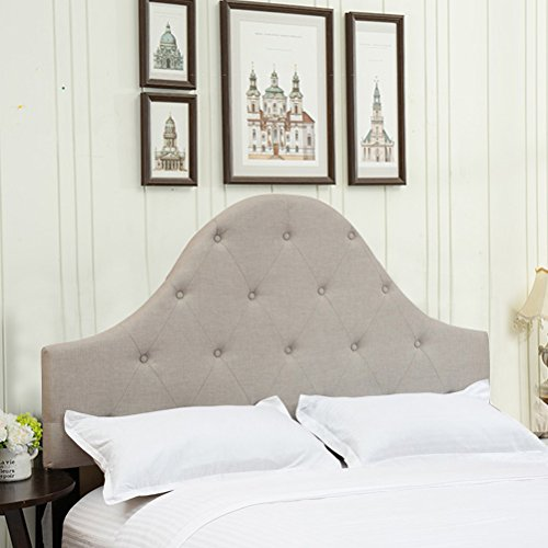 Haobo King Size Headboards Button Tufted Fabric Upholstered Headboard for King Beds with Three Height Adjustable, Greyish (Arch Nail Button)