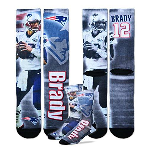 New England Patriots Youth Size Nfl Drive Crew Kids Socks  4 8 Yrs    Tom Brady