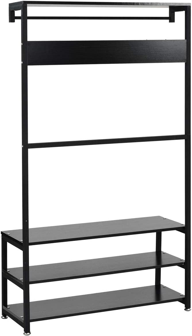 3-in-1 Entryway Coat Shoe Rack, Hall Tree Bench with 3 Tier Storage Shelves, Accent Furniture with Metal Frame