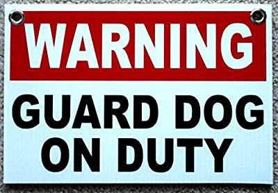 """1 Pc Reliable Unique Warning Guard Dog on Duty Sign Surveillance Outdoor Board Security Fence Property Decor Neighbor Under Cameras Protected Door Hanger Home Premises Signs Size 8""""x12"""" w/ Grommets"""