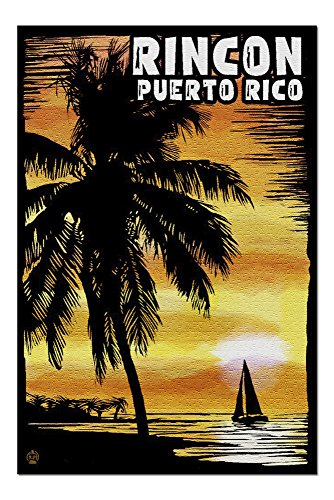 Rincon, Puerto Rico - Palm and Sunset - Scratchboard (20x30 Premium 1000 Piece Jigsaw Puzzle, Made in USA!)