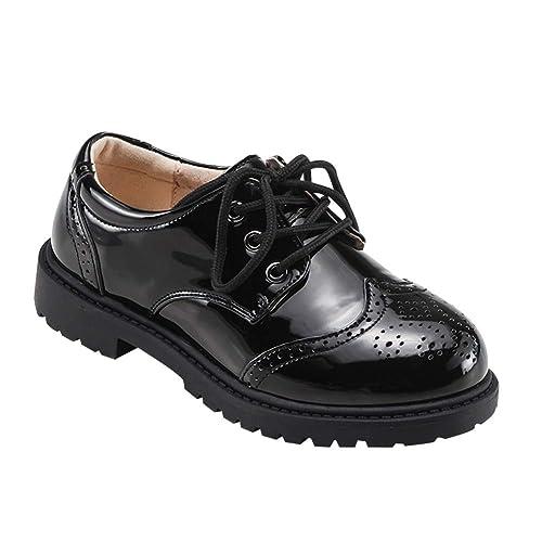 Daytwork Zapatos para Niño Mocasines - Encaje Smart Brogues Oxford Escuela de la Boda Patentes de Cuero Esmoquin Negro Estilo Británico Niños: Amazon.es: ...
