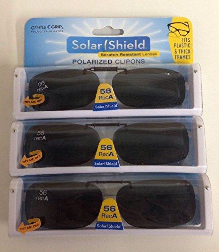 3 SOLAR SHIELD Clip-on Polarized Sunglasses Size 56 rec A Black Frameless - Sunglasses 56