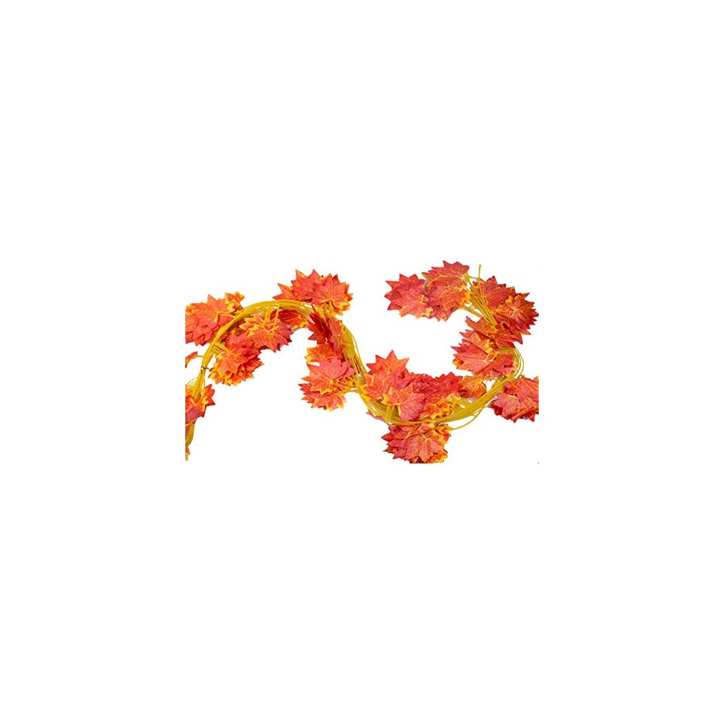 92-Feet-Derker-12-Autumn-Artificial-Silk-Maple-Leaf-Garland-Fall-DecorationHanging-Plant-Orange-Leaves-Wedding-Party-GarlandsSpecial-gift