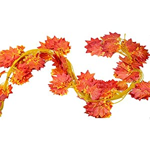 92 Feet - Derker 12 Autumn Artificial Silk Maple Leaf Garland Fall Decoration,Hanging Plant Orange Leaves Wedding Party Garlands,Special gift 105