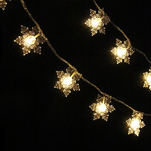 Cross Wire String (ASERTYL 20 LED Snowflakes Hollow String Light Outdoor Christmas Party Decor Lamp Light String Bedroom Window Decoration Hollow Snowflake Snow Balls Outdoor Tent Lamp 2.1 m)