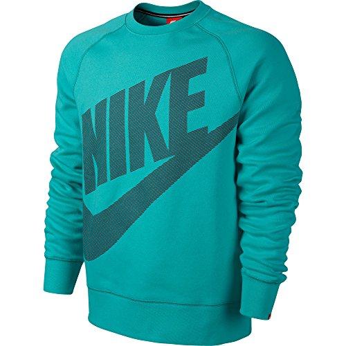 Nike Aw77 Logo Fleece Men's Crewneck Sweatshirt Teal/Black 620591-388 (Size XL)