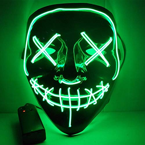 LED Mask Halloween Party Mask Masquerade Mask Neon Maske Light Glow in Dark Mascara Horror Maska Glowing Mask Clear, Green -