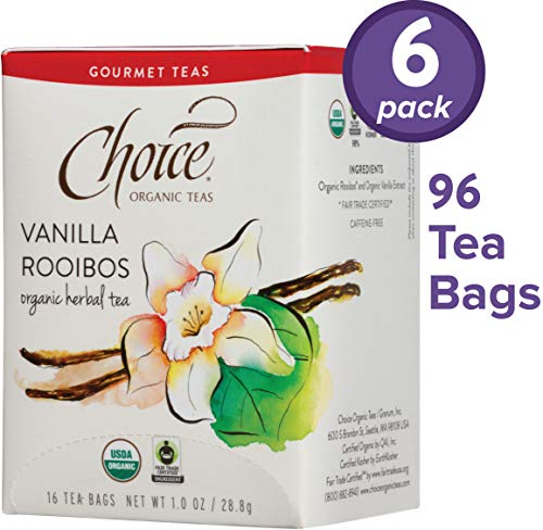 Choice Organic Teas Gourmet Herbal Tea, 6 Boxes of 16 (96 Tea Bags), Vanilla Rooibos, Caffeine Free