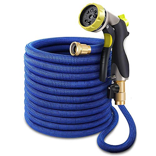 Ecoglad 100 ft Garden Hose, Upgraded Expandable Water Hose, Flexible Expanding Hose with 3/4 All Brass Fittings, Durable Double Latex Core, Extra Strength Fabric, 8 Mode Metal Spray Nozzle, Blue