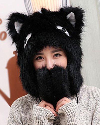 Bomber Hat Earflap Cap Winter Fur Hat Slouchy Beanie Fox Style Hat for Women