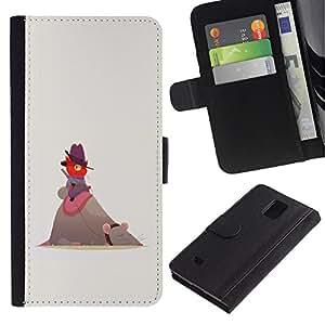 KLONGSHOP / Tirón de la caja Cartera de cuero con ranuras para tarjetas - Cute Funny Cat Mouse Red Beige Cowboy - Samsung Galaxy Note 4 SM-N910
