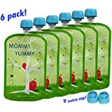 Reusable Food Pouch (6 Pack) - 4.4 Inch. 5oz Opening Easy to Fill and Clean - Heavy Double Zipper - Clean Manufacturing Processes - Suitable for Babies, Toddlers and Kids of All Ages