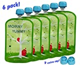 MommyYummy Reusable Food Pouch (6 Pack) - 4.4 Inch. 5oz - Heavy Double Zipper
