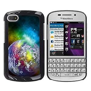 Una caricatura de la Tierra - Metal de aluminio y de plástico duro Caja del teléfono - Negro - BlackBerry Q10